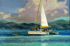 "'Island Holiday' 6x20"" oil on canvas."